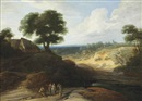 Lodewijk de Vadder, A hilly landscape with figures conversing on a track, a shepherd and his cattle beyond