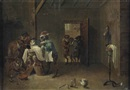 Circle OfDavid Teniers the Younger, A monkey barber shop, A monkey barber shop