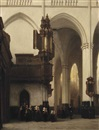 Johannes Bosboom, The interior of the Nieuwe Kerk in Amsterdam with Burgerweesmeisjes near the Transept organ