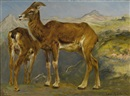 Rosa Bonheur, A sketch of two mountain goats in a landscape