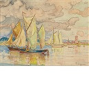 Paul Signac, Sailboats in a Harbor