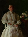 Charles Courtney Curran, Portrait of a lady with Flowers