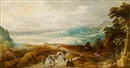 Joos de Momper the Younger, Wide landscape with travellers and wagon