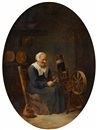 David Teniers the Younger, Old woman at the spinning wheel