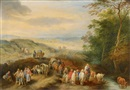 Theobald Michau, Landscape with travellers and peasants