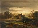 Caspar Johann Nepomuk Scheuren, Evening landscape with a house