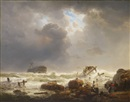 Andreas Achenbach, Coastline with stormy sea