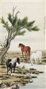 Ma Jin, 柳荫三骏 (Horses in willow forest)
