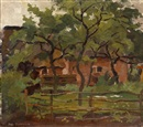 Piet Mondrian, Farm Building in Het Gooi, Fence and Trees in the Foreground