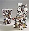 Jean Dubuffet, Guéridon and Chaise de Pratique Fonction II (set of 2)