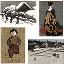 Kiyoshi Saito, Winter in Aizu/ Plowing the Field/ Maiko/ Child in Aizu (set of 4)