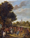 Manner Of David Teniers the Younger, Tanzende Bauern vor der Schenke