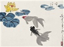 Wu Zuoren, Study of goldfish in a lotus pond