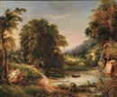 George Loring Brown, Landscape with Fishermen in a Small Lake