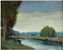 Albert Lebourg, Landscape with river, people on opposite shore