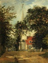 Follower Of John Constable, A view of a church, thought to be Dedham Church