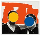 John Baldessari, Stonehenge (With Two Persons) Orange