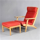 Hans J. Wegner, GE 290 High-backed easy chairs with stool (model GE 290A and GE 290S)