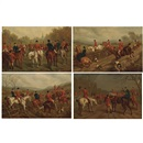 Edward Benjamin Herberte, The Meet, Breaking Cover, In Full Cry and The Kill : Hunting Scenes (4 works)