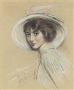 Paul César Helleu, Portrait of Mademoiselle Annette wearing a white hat