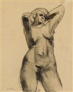 Henry Moore, Standing nude with hands behind her neck (Drawing from life)