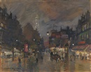 Konstantin Alexeievitch Korovin, Paris. Street Scene at Night