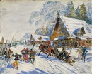 Konstantin Alexeievitch Korovin, Russian Village in Winter