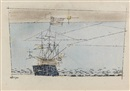 Lyonel Feininger, Ship, blue sea, pink sky