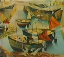 FISHING BOATS IN THE HARBOUR, LOW TIDE, FOWERY by John Edward Barker