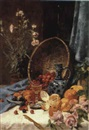 A STILL LIFE WITH FLOWERS AND FRUIT by Albert Fierz