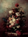Still life of opulent flowers in a vase on a marble ledge by Francois Gabriel