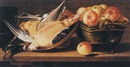 A still life of two ducks on a stoneware plate and apples in a copper bowl by Cornelis Jacobsz. Delff