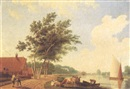 A farm by a river with cattle and peasants on a road by Hendrik Keun
