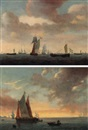 A herring vessel and other ships on open water by Lieve Pietersz Verschuier