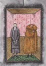 Couple riding in elevator by Edward Gorey
