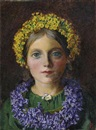 Portrait of a girl, adorned with cowslips, bluebells and a daisy by Michael Frederick Halliday