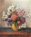 Mums, daisies, phlox in a yellow vase by Fanny S. Eanes