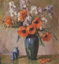 Orange poppies in a tall blue vase with two bottles by Fanny S. Eanes