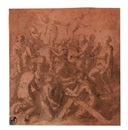 Study for the lower half of an Ascension, with the twelve Apostles, Saint Agnes and Saint Helen by Giovanni Battista di Matteo Naldini