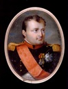 Napoleon, Emperor of the French, wearing the uniform of the chasseurs-à-cheval, red-piped dark green coat with red collar and gold epaulettes, red sash, bade and silver breast star by J. Parent