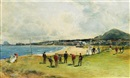 Playing the first hole at point Garry, North Berwick by Michael Brown