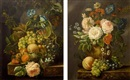 A still life with grapes, peaches, roses and a bird's nest all on a marble ledge (pair) by André Broedelet