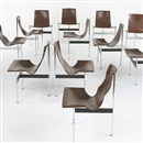 T-chairs model #3LC (set of 12 in collab.w/Ross Littell & Douglas Kelley) by William Katavolos
