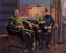 毛泽东会晤斯大林 (The two great men's meeting) by  Liu Wenqing