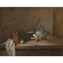 A still life with a napkin, a pitcher, a metallic urn, turnips and other vegetables, arranged on a stone ledge by Jean Baptiste Siméon Chardin