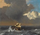 A fishing boat in a rough sea by Ludolf Bakhuizen