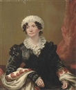 Portrait of a lady, seated, in a black dress with shawl and white mob cap by Andrew Geddes