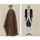 Costume designs: Princess and attendant (2 works) by Lev Bruni