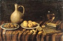 An earthenware jug, a glass of wine, two books, a plate with nuts and a plate with lemons on a draped table by Hubert van Ravesteyn