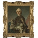 Portrait of a gentleman, half length, wearing armour with a blue ermine-lined cloak by Jean Baptiste Nattier
